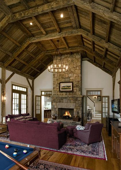 Grand Colonial Revival - family room, fireplace