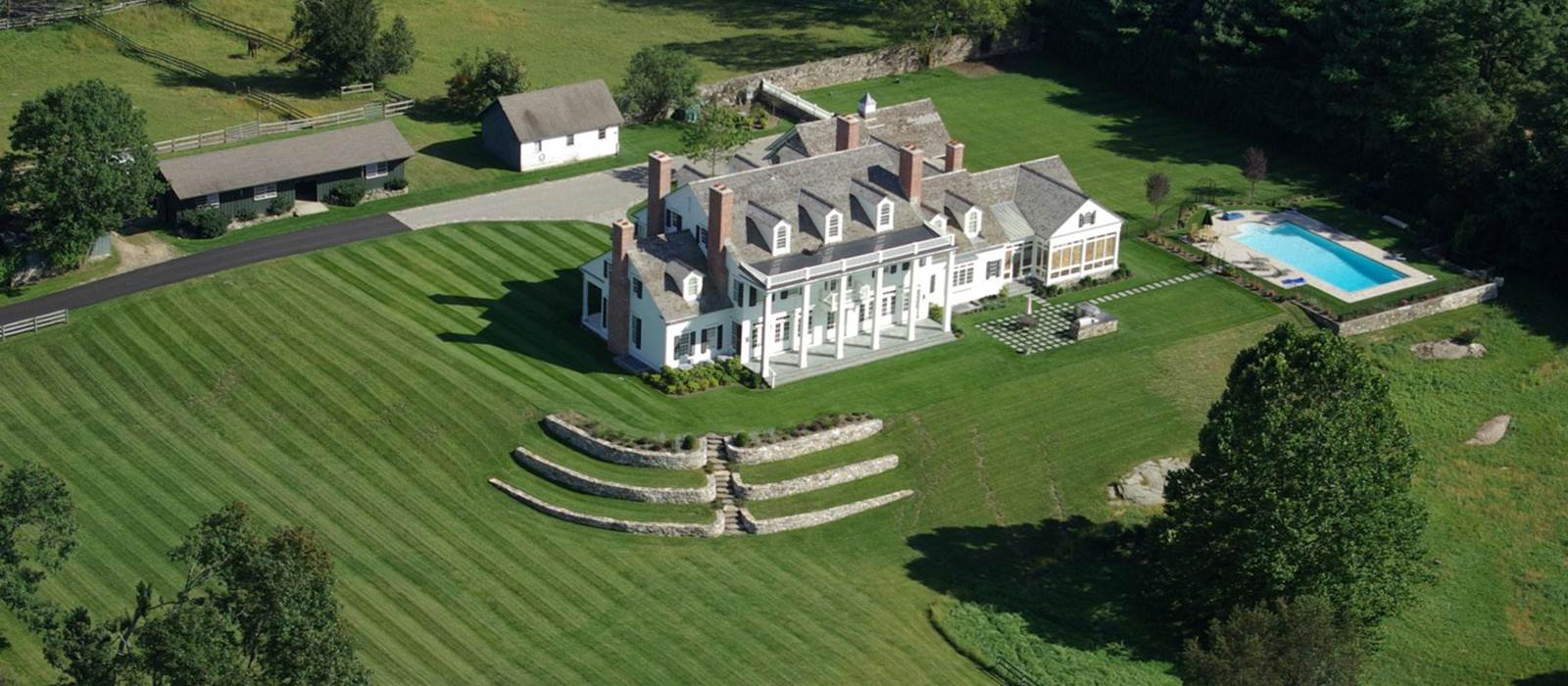 Grand Colonial Revival aerial in North Salem, NY
