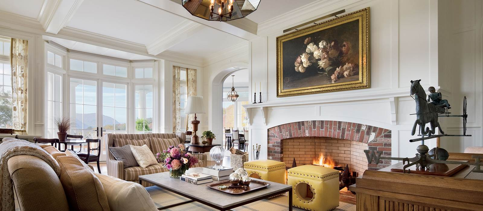 Living Room, Fireplace from Shingle Estate on the Hudson